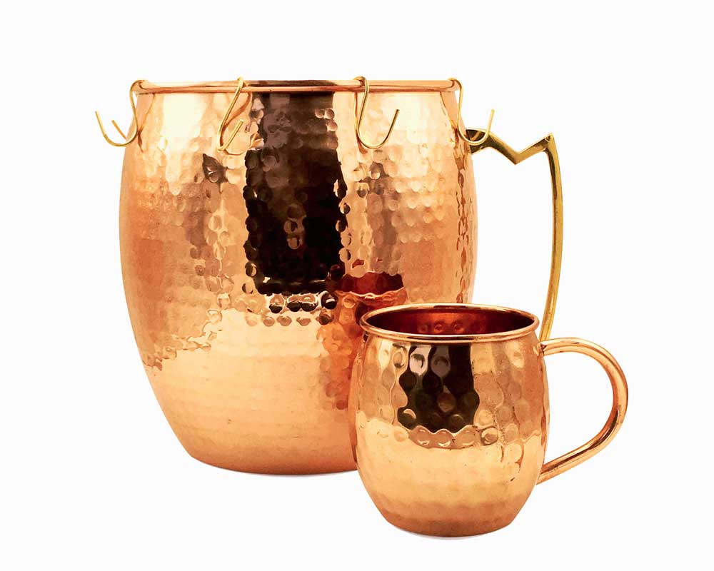 Hammered Copper Punch Set with Hooks (1 3 Gallon & 16 oz  Mug